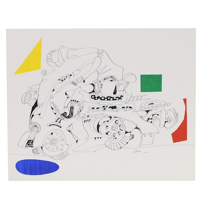 Eduardo Oliva Figural Ink Drawing with Paper Collage, Late 20th Century