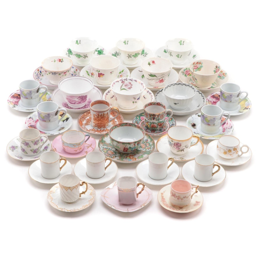 English Pearlware and Rose Medallion Tea Bowls with Other Demitasse Cups