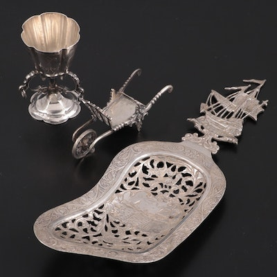 Dutch Sterling Silver Bonbon Spoon with Chalice and Figurine