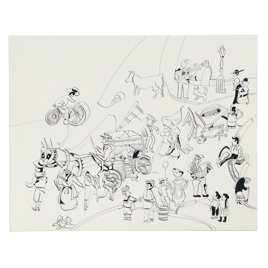 Eduardo Oliva Figural Surrealist Ink Drawing, Late 20th Century