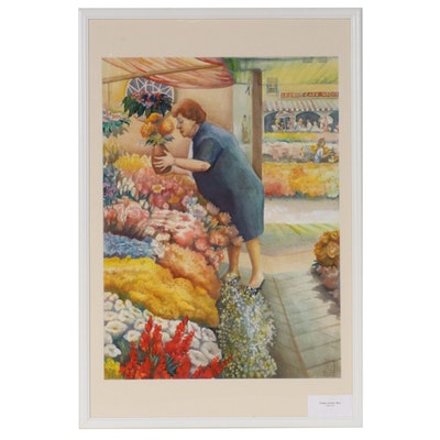 "Joan Fistick Watercolor Painting ""Flower Vendor, Nice"""