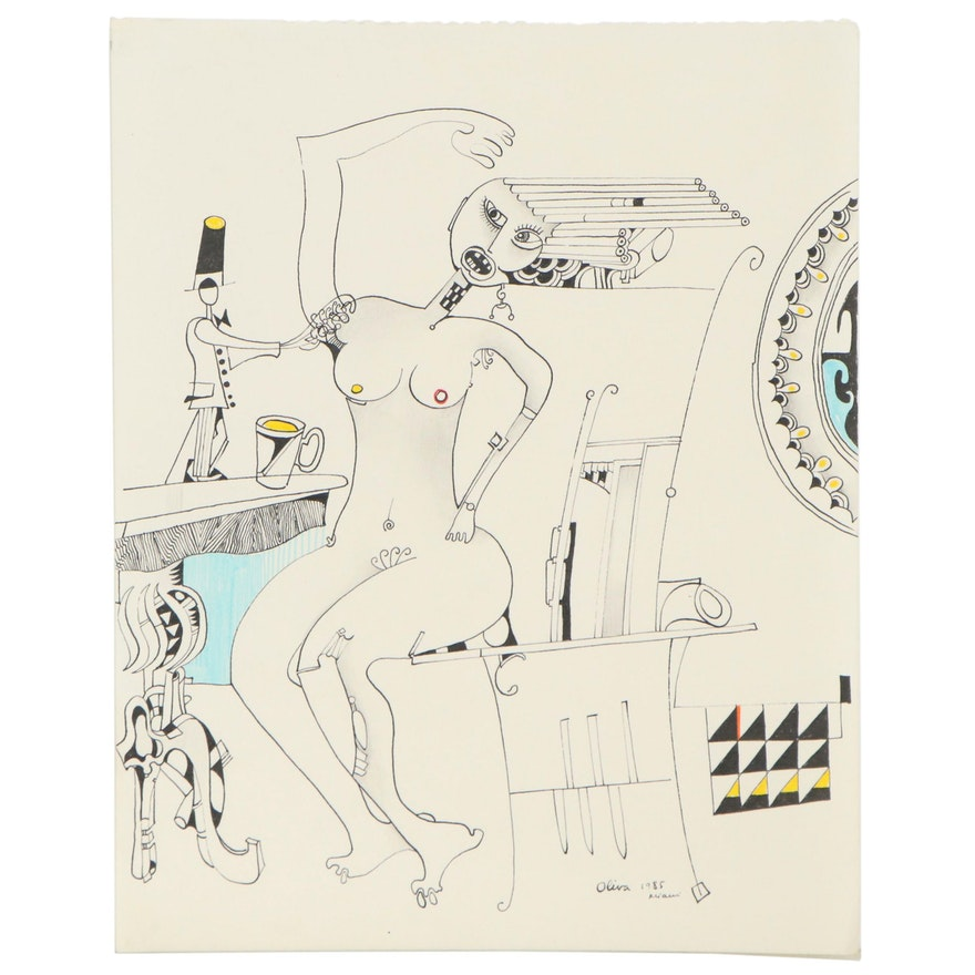 Eduardo Oliva Figural Surrealist Ink Drawing, 1985