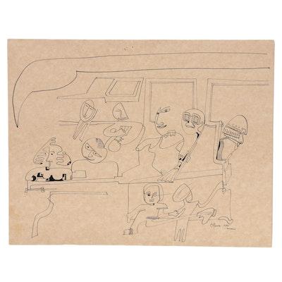 Eduardo Oliva Figural Surrealist Style Ink Drawing, 1985