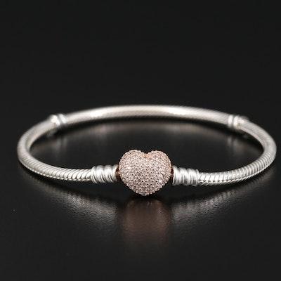 Pandora Sterling Silver Cubic Zirconia Heart Bracelet