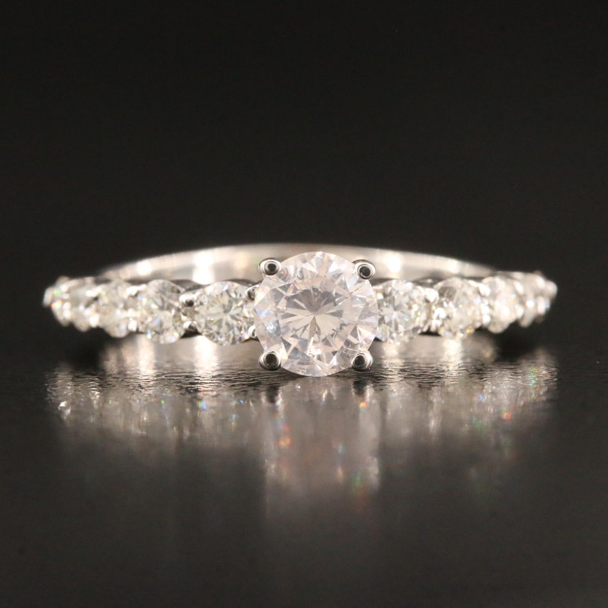 14K 1.18 CTW Diamond Ring with GIA Report