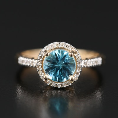 14K Zircon and Diamond Halo Ring