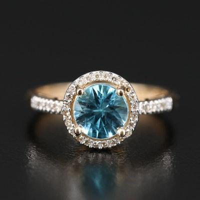 14K Zircon and Diamond Halo Ring