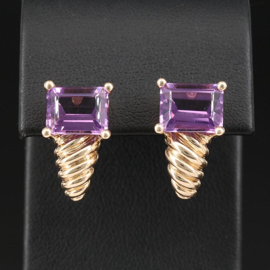 14K Amethsyt J Hoop Earrings