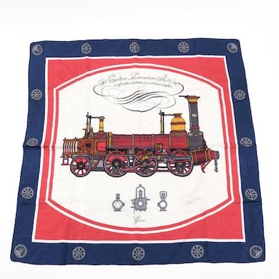 Gucci Parisian Railroad Motif Silk Twill Scarf