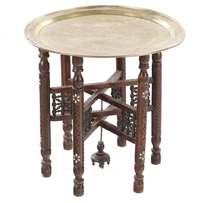 Islamic Engraved Brass Tray on Mother-of-Pearl Inlaid and Carved Hardwood Stand