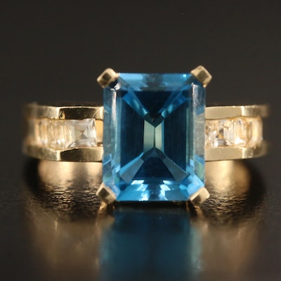 14K Topaz and White Topaz Ring