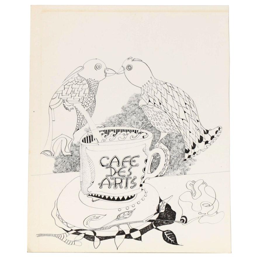 Eduardo Oliva Surrealist Style Ink Drawing of Two Birds, Late 20th Century