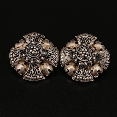 950 Silver Jerusalem Cross Clip Earrings