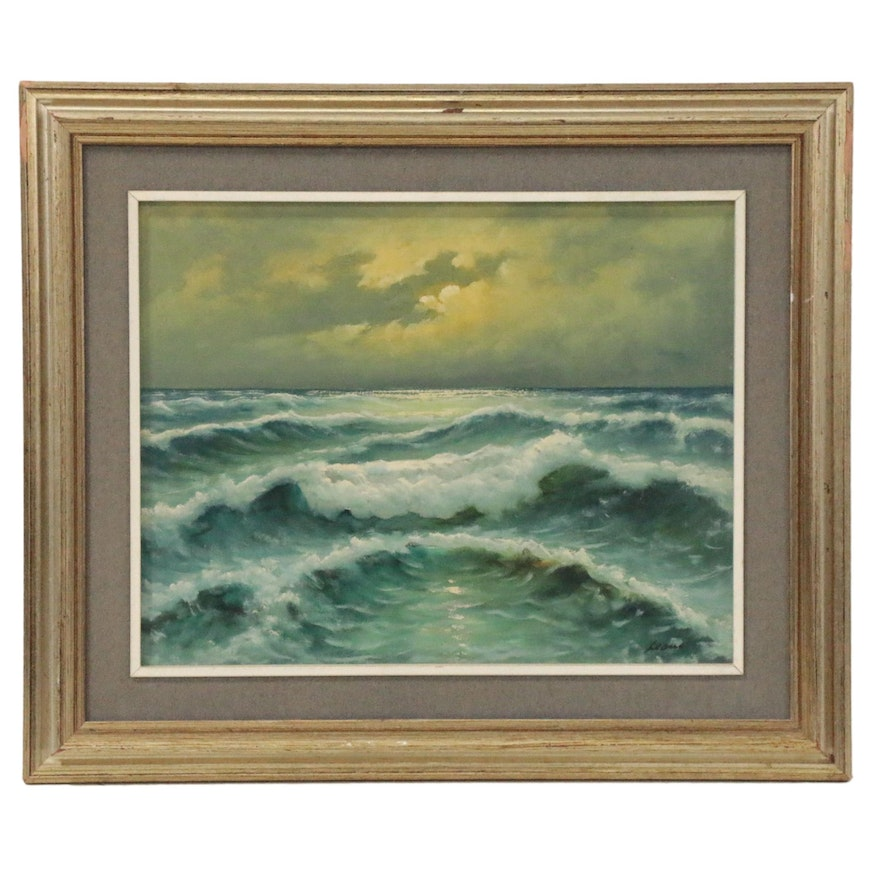 Leone Oceanscape Oil Painting, Late 20th Century
