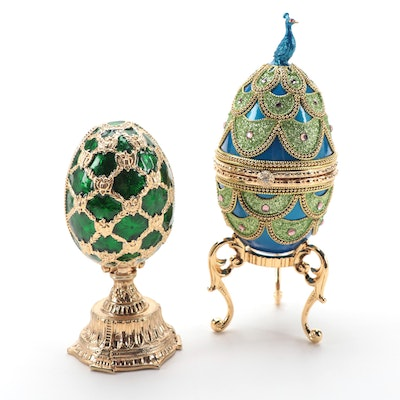 Savoy Collections Faberge Egg Inspired Music Box and Egg Box