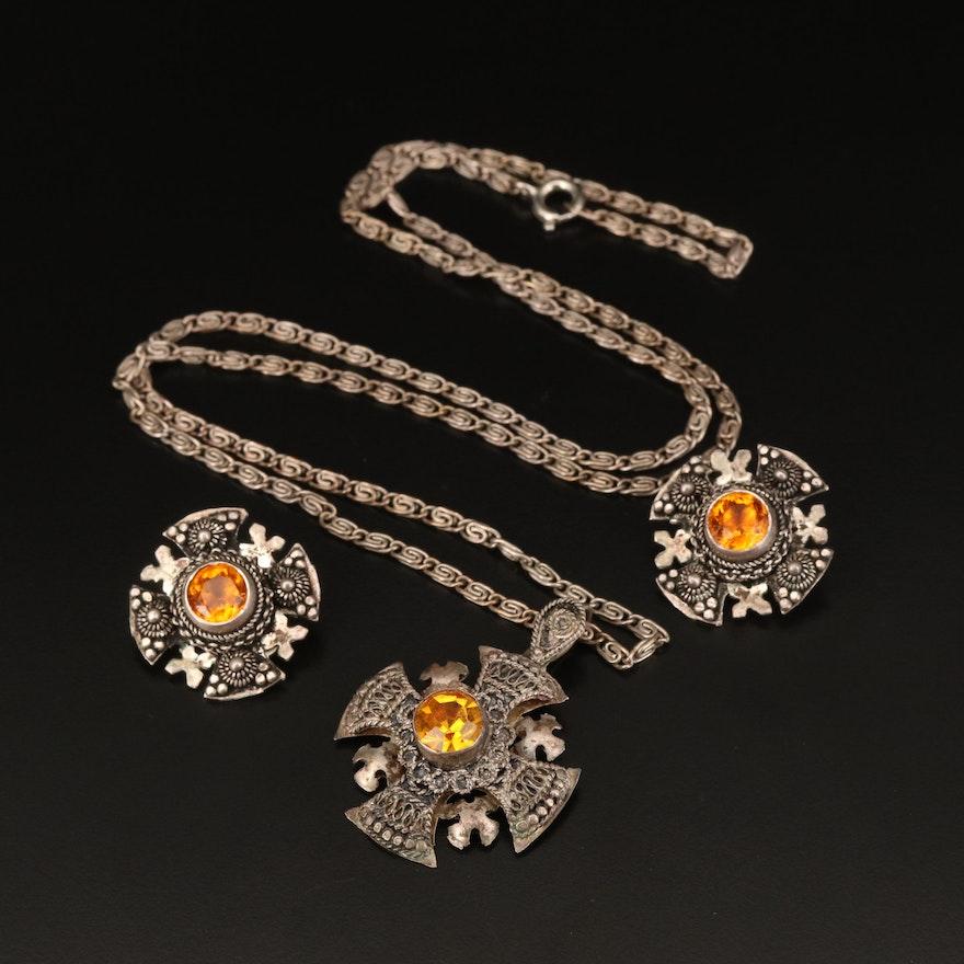 950 Silver Rhinestone Jerusalem Cross Earrings and Necklace