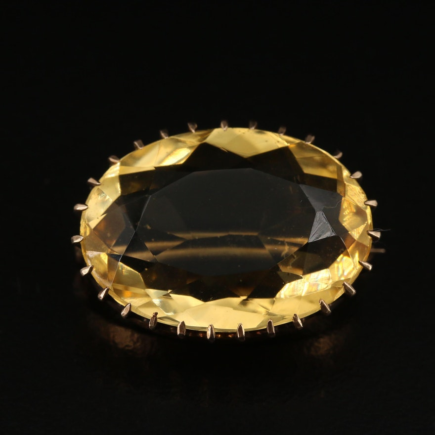 Early 1900s 10K 13.43 CT Citrine Oval Brooch