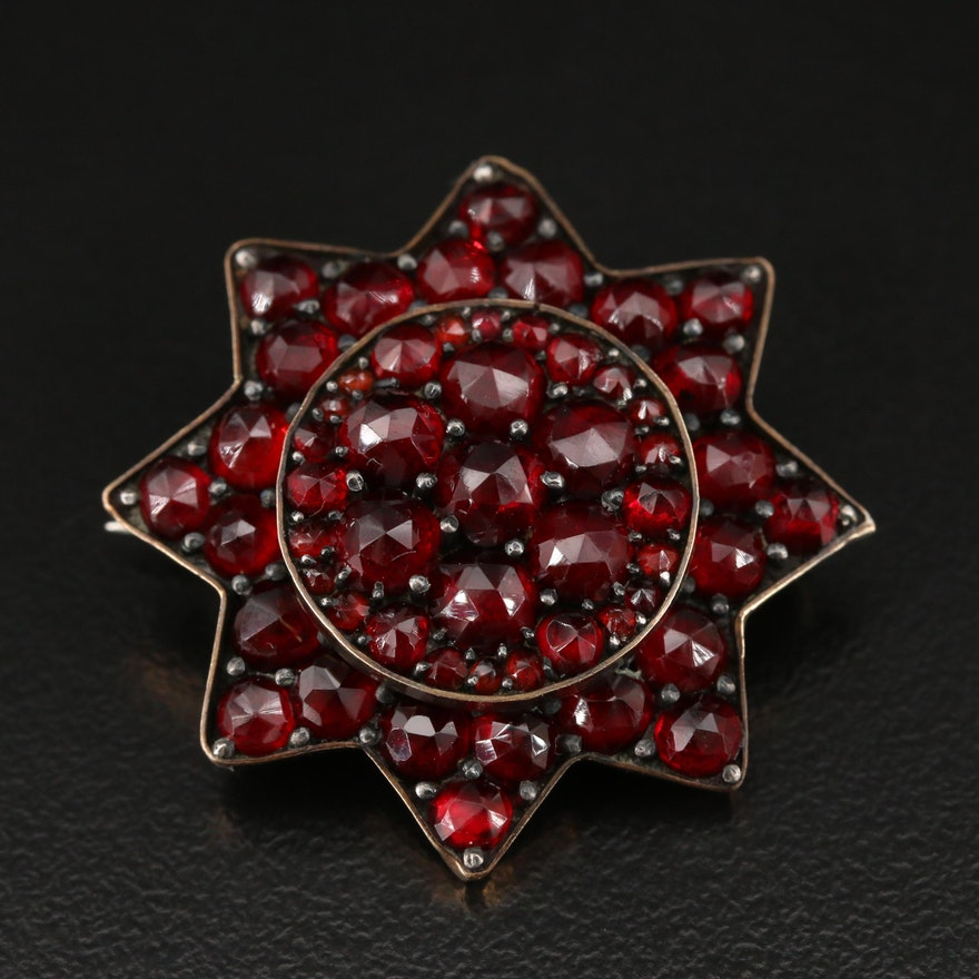 Antique Bohemian Garnet Star Brooch