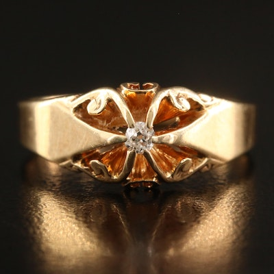 14K Diamond Belcher Set Ring