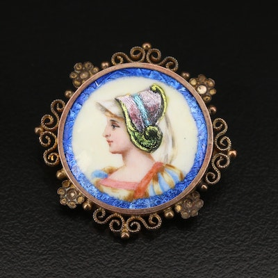 Renaissance Revival Enameled Portrait Brooch