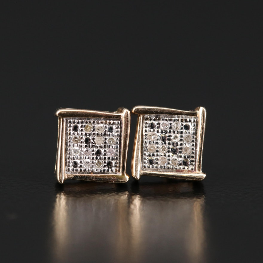 10K Illusion Set Diamond Earrings