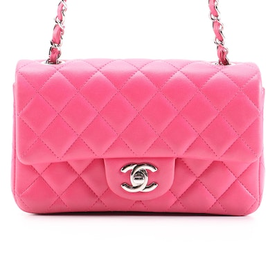 Chanel Classic Pink Quilted Lambskin Leather Mini Flap Bag