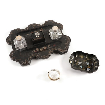 English Japanned Papier-Mâché Desk Set with Abalone Inlays and More