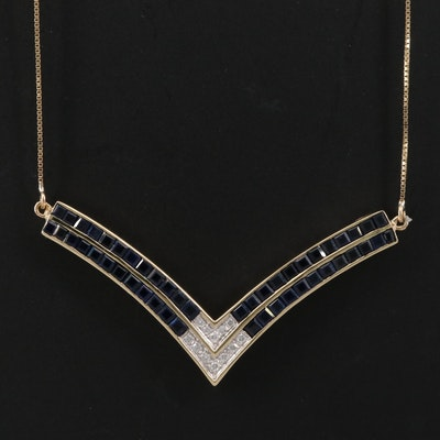 14K Diamond and Sapphire Chevron Necklace