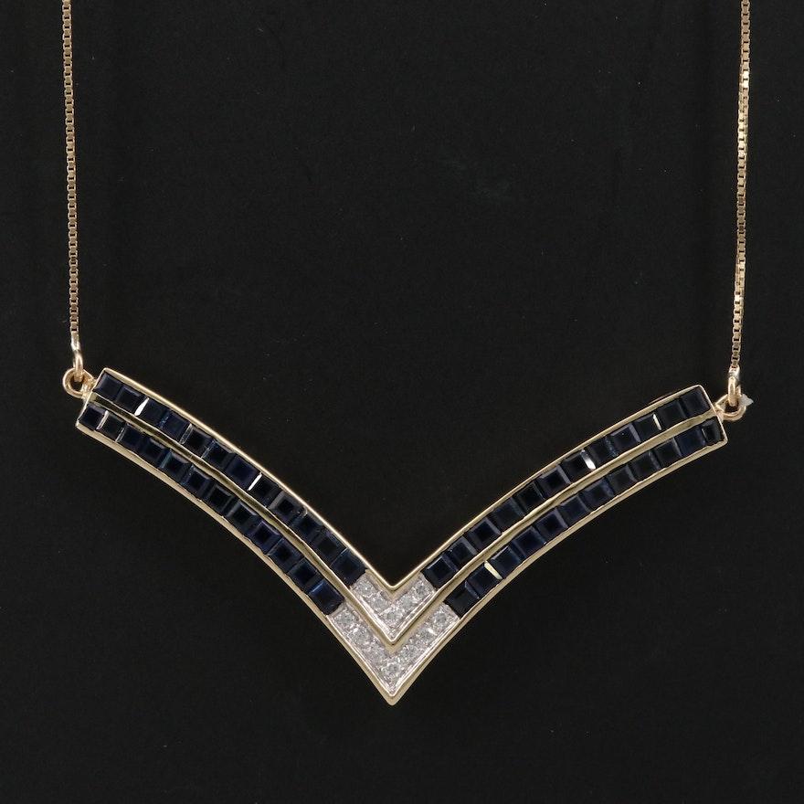 14K Diamond and Sapphire Chevron Necklace