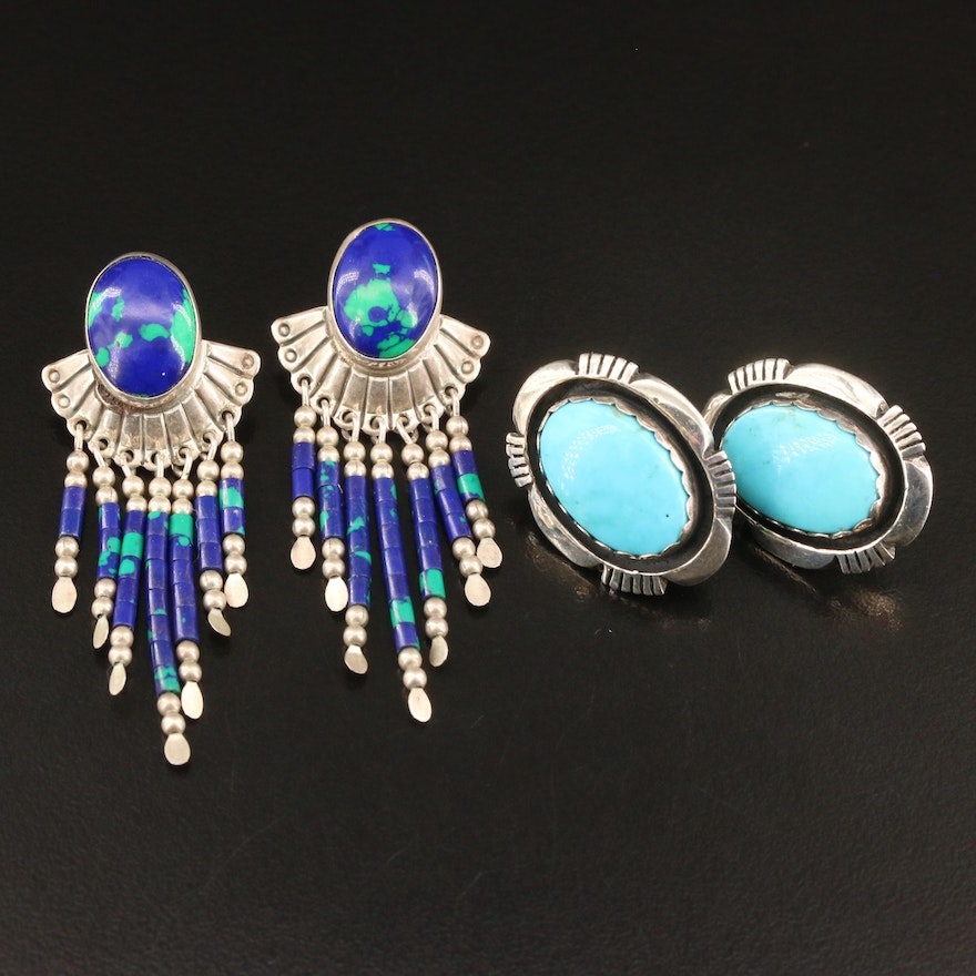Leonard and Marian Nez Navajo Diné Shadow Box and Southwestern Style Earrings