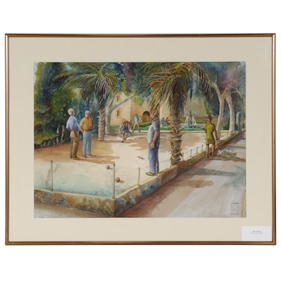 "Joan Fistick Watercolor Painting ""Men at Play"""