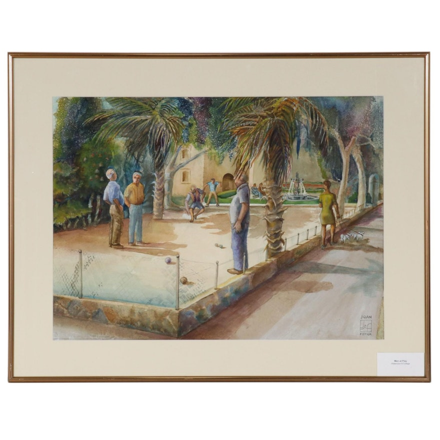 "Joan Fistick Watercolor Painting ""Men at Play"""