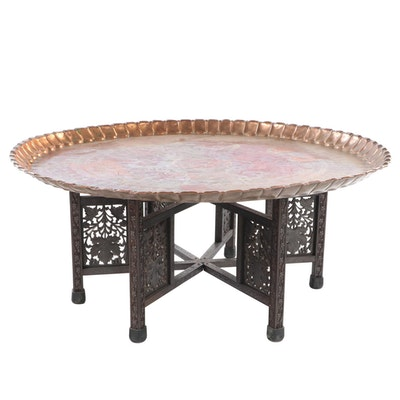 United Arab Republic Incised Copper Tray on Carved Hardwood Stand