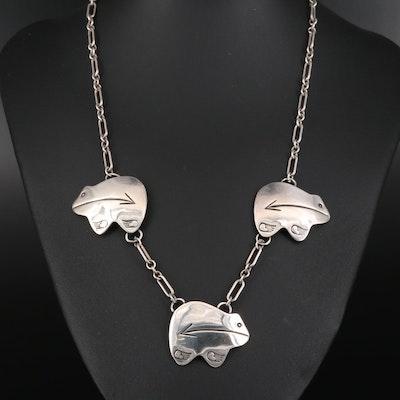 Signed Southwestern Style Sterling Silver Bear Pendant Necklace