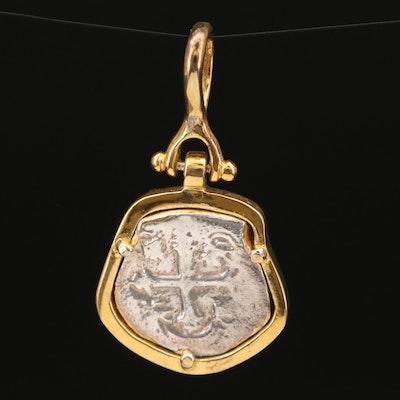 Circa 1500s Spanish Cob 2-Reales Coin Pendant