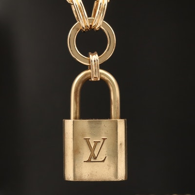 Louis Vuitton Lock on Cable Chain Necklace with Key