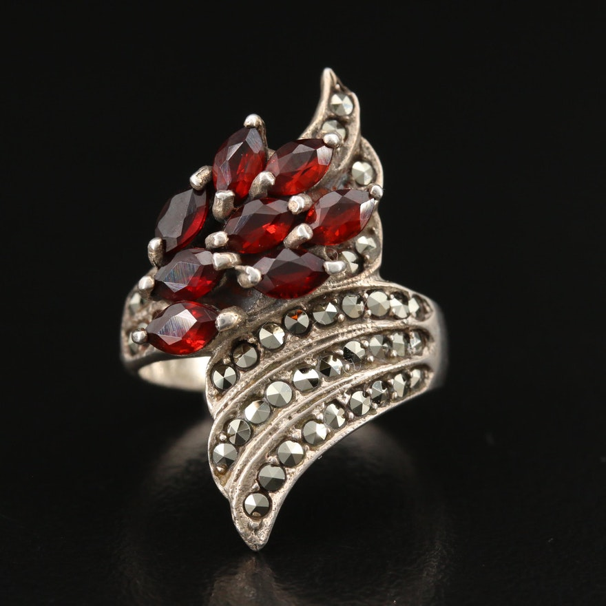 Vintage Sterling Silver Garnet and Marcasite Bypass Ring