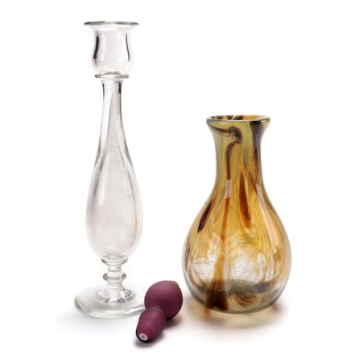 Steuben Candleholder and Art Glass Vase