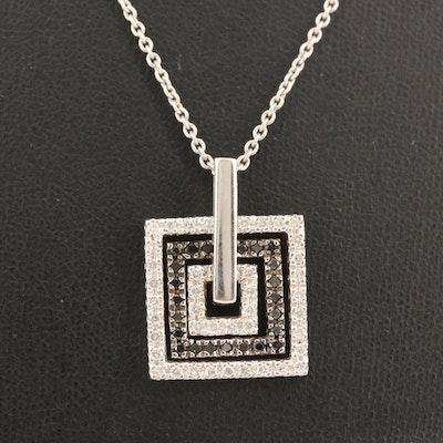 14K Diamond Square Pendant on 18K Cable Chain Necklace