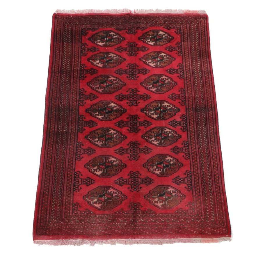 3'3 x 5' Hand-Knotted Persian Turkmen Area Rug, 1970s