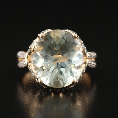 14K Prasiolite Ring with Multi-Topaz Gallery