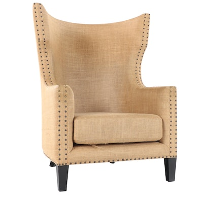 Contemporary Burlap Upholstered Wingback Arm Chair