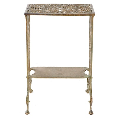 Renaissance Revival Gilt and Cast Iron Two-Tier Side Table, Early 20th Century