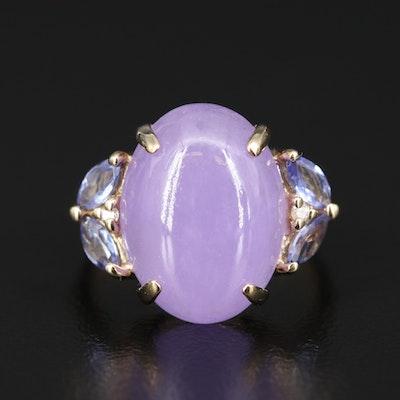 14K Jadeite, Tanzanite and Diamond Ring