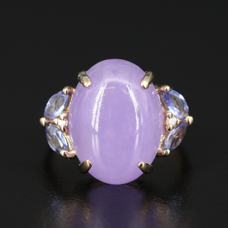 14K Jadeite, Tanzanite and Diamond Ring