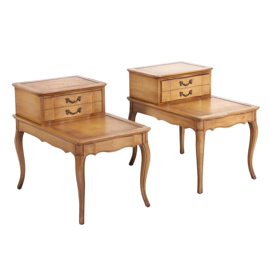 Pair of Robinson Furniture Louis XV Style Maple-Stained End Tables, Mid-20th C.