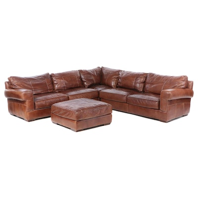 Sofa Express Contemporary 4-Piece Leather Sectional Sofa