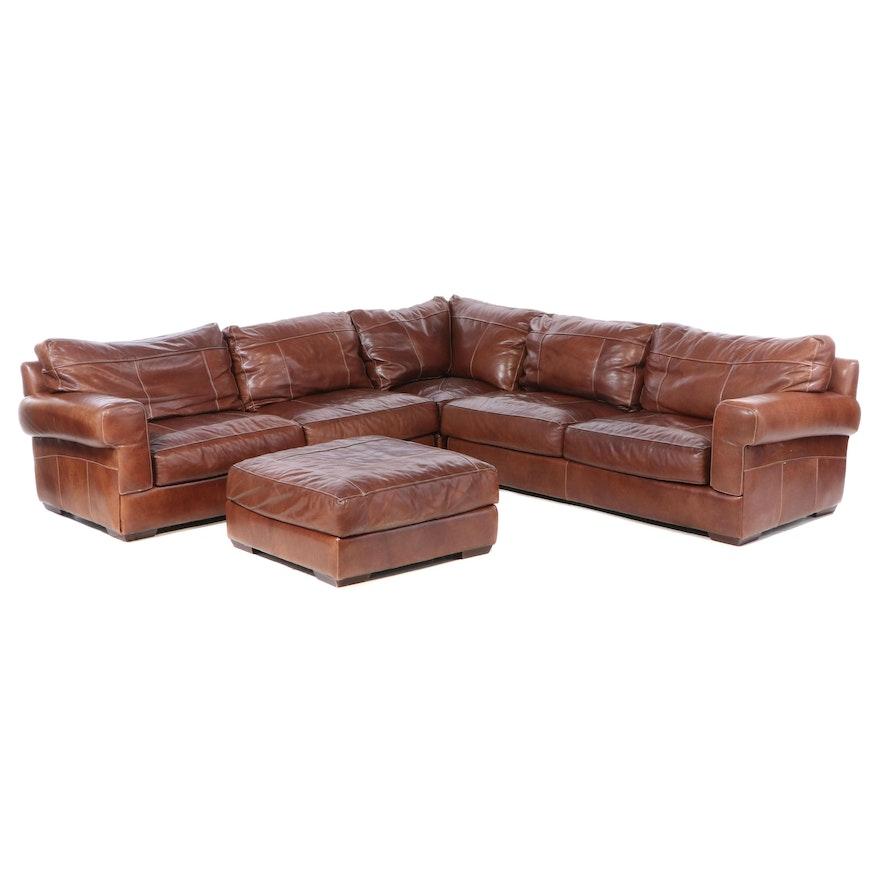 Sofa Express Contemporary 4-Piece Leather Sectional Sofa