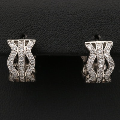 Sterling Cubic Zirconia Wave Hoop Earrings