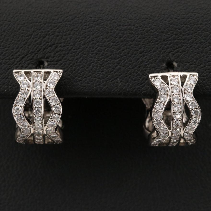 Sterling Cubic Zirconia Wave Hoop Earrings